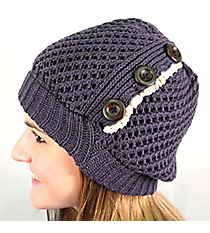 Button Accented Blue Gray Crochet Beanie #IJ0001-GR