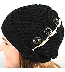 Button Accented Black Crochet Beanie #IJ0001-J