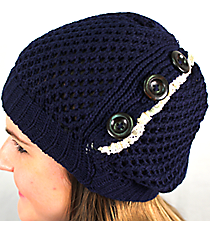 Button Accented Midnight Crochet Beanie #IJ0001-M