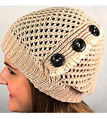 Button Accented Rose Beige Crochet Beanie #IJ0001-N