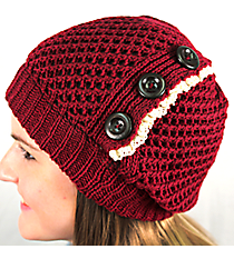 Button Accented Maroon Crochet Beanie #IJ0001-R