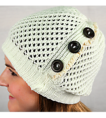 Button Accented Winter White Crochet Beanie #IJ0001-W