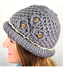 Gray Crochet Button Flower Beanie #IJ0002-GR