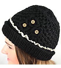 Black Crochet Button Flower Beanie #IJ0002-J
