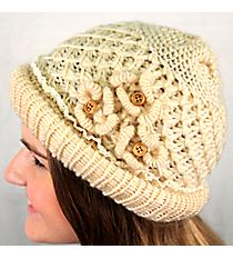 Natural Crochet Button Flower Beanie #IJ0002-N