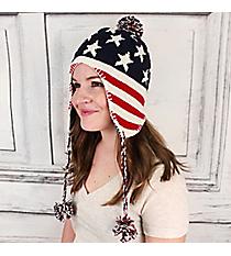 American Flag Earflap Beanie with Pom-Pom Tassels #IJ0004-MR