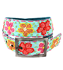Turquoise with Woven Flowers Belt #IL0002-RHTQ