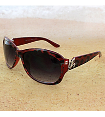 One Pair Silvertone Fleur de Lis Accented Burgundy Leopard Sunglasses #IN4011-R