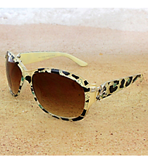 One Pair Silvertone Fleur de Lis Accented Cream Leopard Sunglasses #IN4011-R