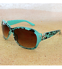 One Pair Silvertone Fleur de Lis Accented Mint Leopard Sunglasses #IN4011-R