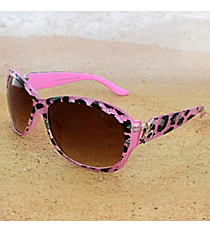 One Pair Silvertone Fleur de Lis Accented Pink Leopard Sunglasses #IN4011-R