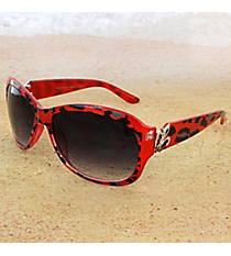 One Pair Silvertone Fleur de Lis Accented Red Leopard Sunglasses #IN4011-R