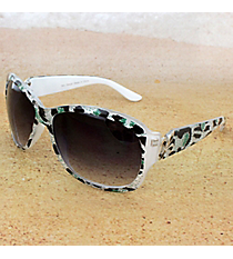 One Pair Silvertone Fleur de Lis Accented White Leopard Sunglasses #IN4011-R