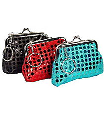 1 SEQUINED COIN PURSE WITH KISS-LOCK CLOSURE AND KEY CHAIN #7596-ASSORTED