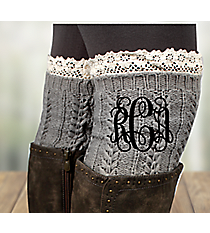 One Pair of Gray Crochet Boot Cuffs #IW0002-GR2