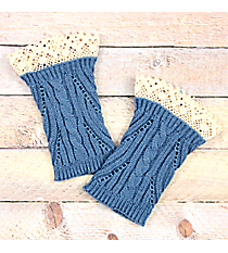One Pair of Junior Cut Steel Blue Crochet Boot Cuffs #IW0003-TQ