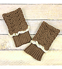 One Pair of Brown Crochet Fold-Over Boot Cuffs #IW0017-B