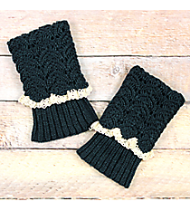 One Pair of Emerald Green Crochet Fold-Over Boot Cuffs #IW0017-E