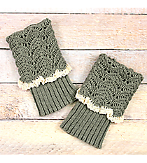 One Pair of Sage Gray Crochet Fold-Over Boot Cuffs #IW0017-GR