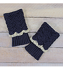One Pair of Midnight Blue Crochet Fold-Over Boot Cuffs #IW0017-M