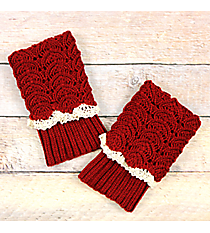 One Pair of Red Crochet Fold-Over Boot Cuffs #IW0017-R