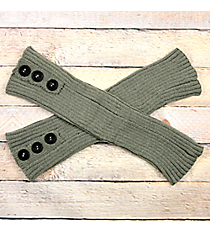 One Pair of Button Accented Sage Gray Crochet Leg Warmers #IW0023-GR