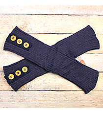 One Pair of Button Accented Midnight Crochet Leg Warmers #IW0023-M