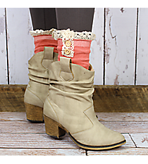 One Pair of Coral Pink Ankle Boot Socks #IW0033-P