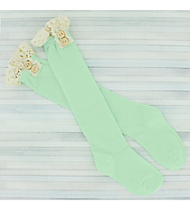 One Pair of Girls Mint Knee-High Lace Socks #IW0049-E