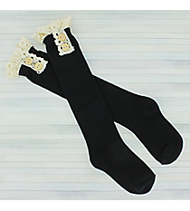 One Pair of Girls Black Knee-High Lace Socks #IW0049-J