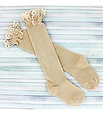 One Pair of Girls Natural Knee-High Lace Socks #IW0049-N
