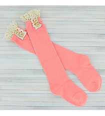 One Pair of Girls Bright Pink Knee-High Lace Socks #IW0049-P