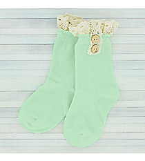 One Pair of Girls Mint Ankle Lace Socks #IW0050-E