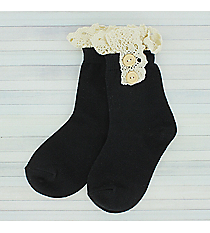 One Pair of Girls Black Ankle Lace Socks #IW0050-J