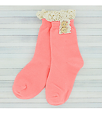 One Pair of Girls Bright Pink Ankle Lace Socks #IW0050-P