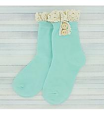 One Pair of Girls Light Aqua Ankle Lace Socks #IW0050-TQ