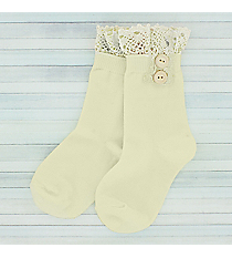 One Pair of Girls Ivory Ankle Lace Socks #IW0050-Wnkle Lace Socks #IW0050-E