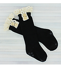 One Pair of Toddlers Black Non-Slip Knee-High Lace Socks #IW0051-Js Black Knee-High Non-Slip Lace Socks #IW0051-J