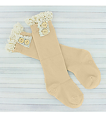 One Pair of Toddlers Natural Non-Slip Knee-High Lace Socks #IW0051-N