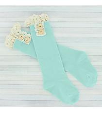 One Pair of Toddlers Light Aqua Non-Slip Knee-High Lace Socks #IW0051-TQ