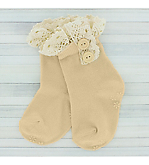 One Pair of Toddlers Natural Non-Slip Ankle Lace Socks #IW0052-N
