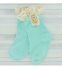 One Pair of Toddlers Light Aqua Non-Slip Ankle Lace Socks #IW0052-TQ
