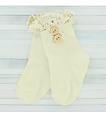 One Pair of Toddlers Ivory Non-Slip Ankle Lace Socks #IW0052-W