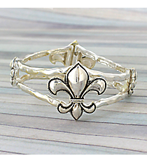 Silvertone Fleur de Lis Stretch Bracelet #JB1850-AS