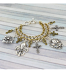 Two-Tone Fleur de Lis and Cross Charm Toggle Bracelet #JB1875-TT