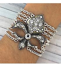 Jeweled Silver Fleur de Lis Multi-Chain Bracelet #JB1895-ASCR