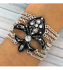 Jeweled Jet Fleur de Lis Multi-Chain Bracelet #JB1895-ASJT