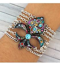 Jeweled Multi-Color Fleur de Lis Multi-Chain Bracelet #JB1895-ASLT