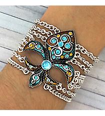 Jeweled Teal and Brown Fleur de Lis Multi-Chain Bracelet #JB1895-ASTB