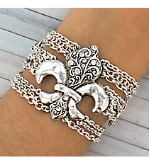 Silvertone Fleur de Lis Multi-Chain Bracelet #JB1925-AS
